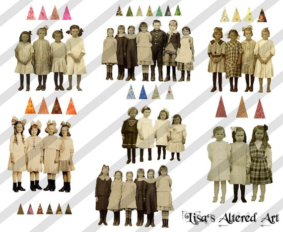 Digital Collage Sheet Groups of Children No. 1 (Sheet No.S3) PNG file available-Instant Download