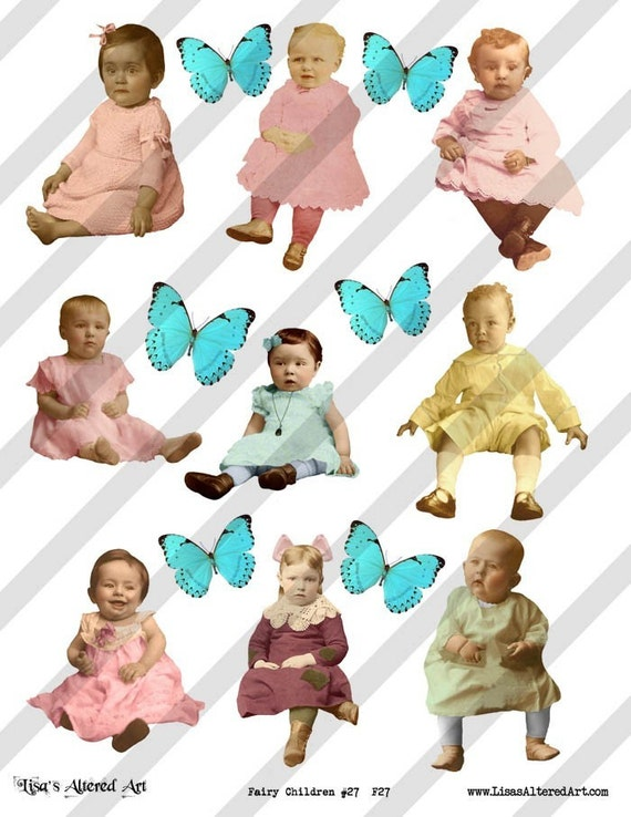 Digital Collage Sheet Children (Sheet no.F27) Instant Download