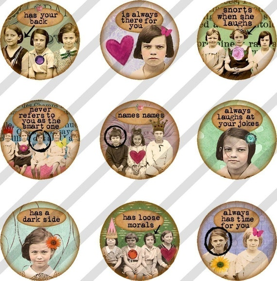 Digital Collage Sheet Bottle Cap 1 inch Circles Girlfriends (Sheet no.FS86) Instant Download