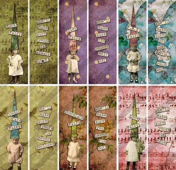 Digital Collage Sheet Slides Treasure Fairies 2 SHEETS of 1X3 inch  Images. (sheet No.FS103A&B) Instant Download