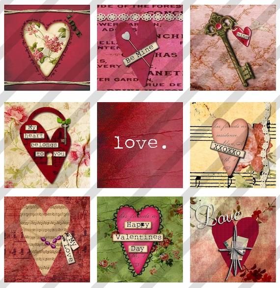 Digital Collage Sheet  Valentine Altered Art Slide Images  1.5 X 1.5  inch Hearts Valentines (Sheet no. FS117) Instant Download