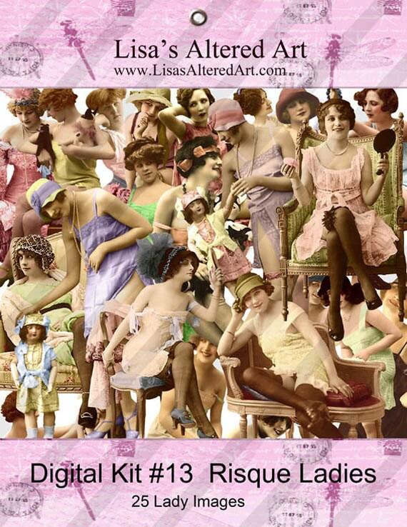 Digital Kit- No.13  -For Digital Art-  Risque Ladies- 25 Different Ladies PNG files-Instant Download