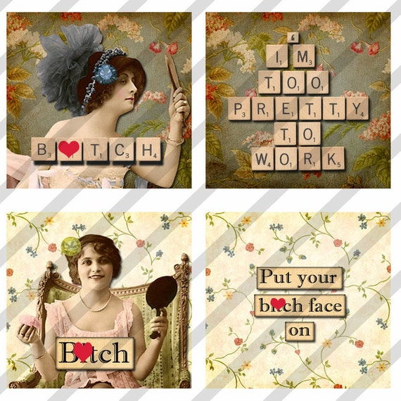 MATURE-Digital Collage Sheet Download  1.5 X1.5 inch Slides Sassy Women (Sheet no. FS132) Instant Download