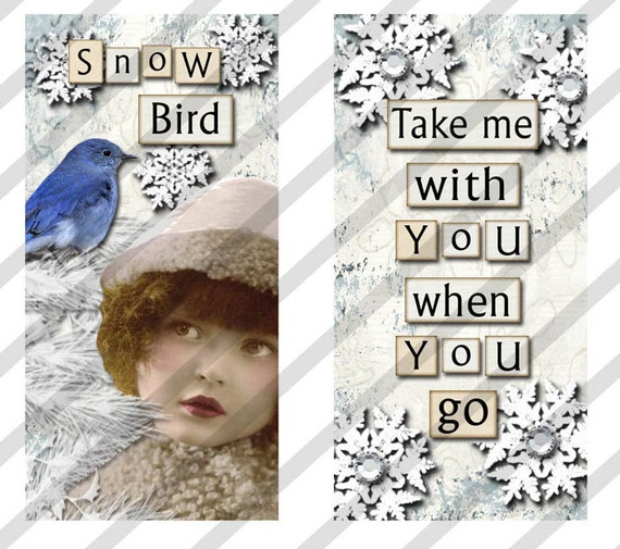 """Digital Collage Sheet Domino Images SNOW Fairies 1"""" X 2"""" Images. (Sheet No.FS139) Instant Download"""