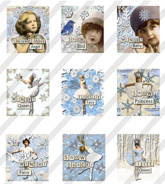 Digital Collage Sheet  Altered Art Scrabble Tile Images SnOw QueEn. Christmas  0.75 X.83 (Sheet no. FS148) Instant Download