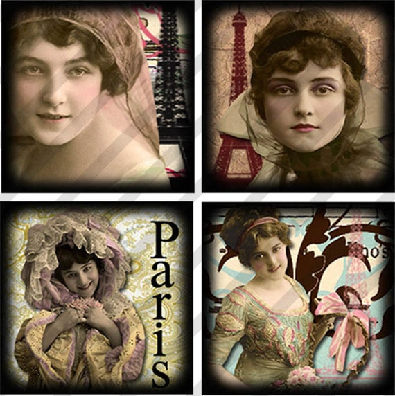 "Digital Collage Sheet  Charms Parisian Ladies 1"" X 1"" (Sheet no.FS156) Paris-Instant Download"