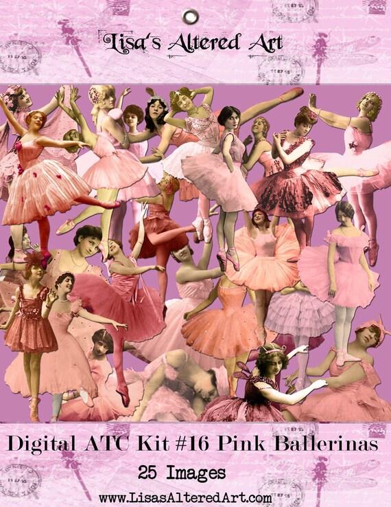 Digital Kit- No.16  -For Digital Art- Ballet- Pink Ballerinas-25 Different Ballerina's- PNG files-Instant Download