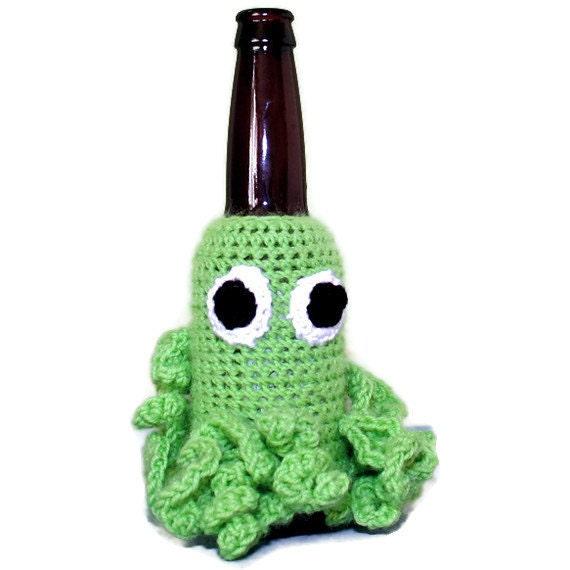Octopus Beer Critter Bottle Cozy- Green