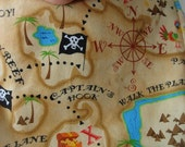 Boys Pirate Adventure Treasure Map Chocolate Chenille Bib LAST ONE!