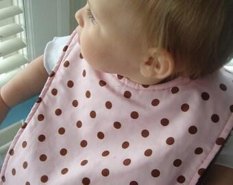 Pink and Chocolate Polka Dot Minky Bib