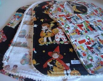 Retro Holiday Fabric Bib Set