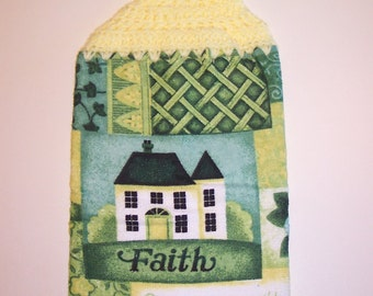 AMERICANA FAITH SAYING Double Layer Hanging Crochet Tpwel for kitchen or bathroom
