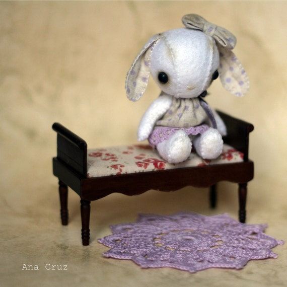OOAK Bunny girl in violet dress and doily