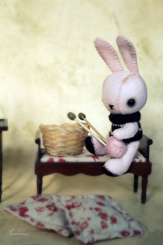 Baby Pink Bunny with Striped Knitted Sweater