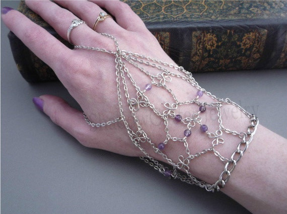 SALE 30% OFF Slave Bracelet Handflower Silver tone chain Amethyst beads ring bracelet adjustable chain bracelet clover wire beads purple