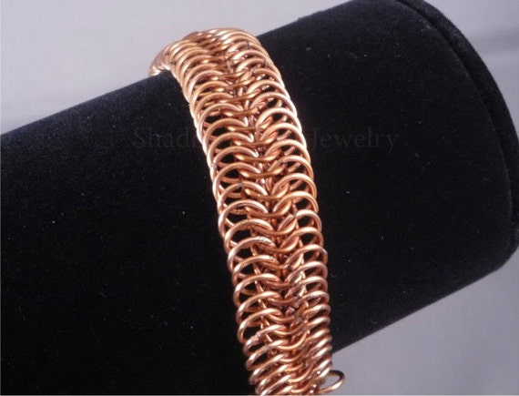CLEARANCE 25% OFF Autumn Copper Chainmaille Bracelet adjustable two tone millipede gold tone clasp E8 European 8in1 chainmail