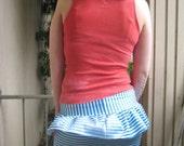 80s-esque lycra Striped Miniskirt