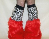 White Leopard and Red Raver Fluffies Boot Covers