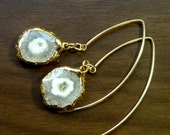 Natural Stalactite Slice Earrings with 24k Gold Dipped Edge