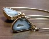 Half Geode Druzy Agate Earrings 24K Gold Dipped