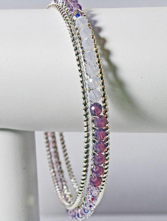 Swarovski Crystal Ombré Bangle Set in Violet Purple Silver
