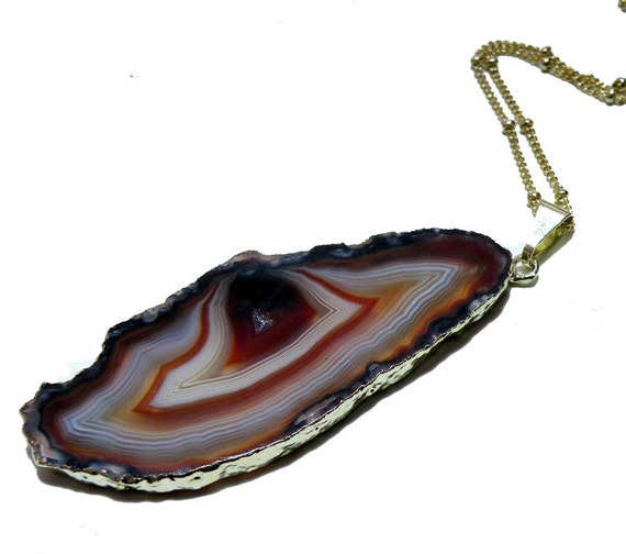 Agate Geode Slice White Red and Brown Pendant with Gold Dipped Edge