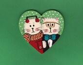 Cat Couple Christmas Heart Ornament