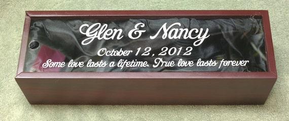 Rosewood Finish Wine Box with Personalized Sliding Acrylic Cover Best Man Groomsman Bride & Groom Wedding