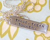 SIMPLE FAMILY NECKLACE handstamped and personalized just for you
