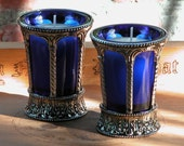 Witches Gothic Cobalt Glass and Nickel Chalice Cup with Votive Candle