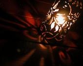 Rainforest Candle Luminary . Tin Can Lanturn OOAK