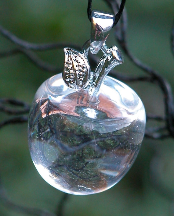 Witches Apple Pendant Charm . Crystal Quartz . The Ultimate Power Stone