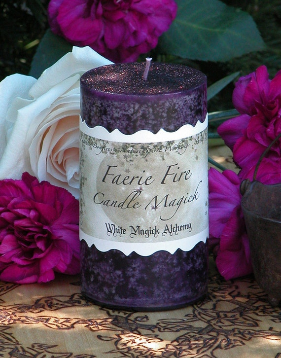 Faerie Fire . White Magick Alchemy 2x3 Pillar Candle . Enhance Night Visions, Nature Spirit Workings, Divination, Wishes . With Honey