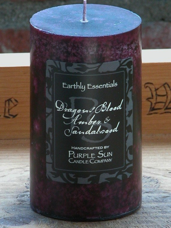 Dragons Blood Amber and Sandalwood Pillar Candle 2x3