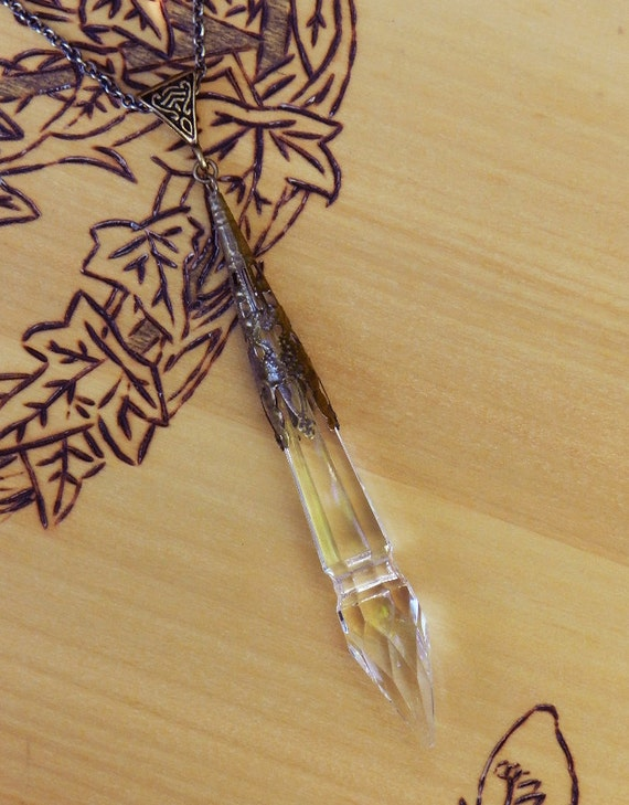 Witches Wand . Crystal Power Point Prism Wand . Old World Divination Pendulum Necklace . Bronze Filigree Pendant