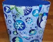 Tote Bag- Snowflake in a Circle- Gift Bag- Christmas Bag- Eco Friendly