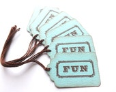 Aqua Blue Fun Stamped Gift Tags // Brown and Blue - MyCardCupboard