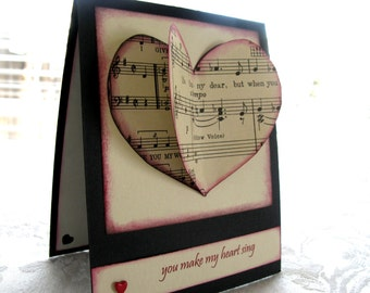 You Make My Heart Sing/ Valentine's Day Card/ Vintage Sheet Music Heart