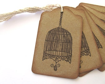 6 Birdcage Gift Tags, Stamped, Vintage Inspired
