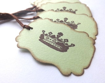 Vintage Inspired Crown Gift Tags // Green and Brown // Set of 6