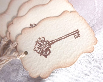 Antique Key Gift Tags // Cream and Brown // Vintage Inspired