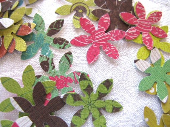 SALE // 100 Mixed Flowers embellishments die cut punch Retro colors and designs