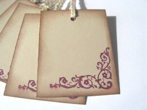 6 Eggplant / Purple Vintage Inspired gift tags