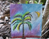 ACEO original mixed media painting of a palm tree at sunset