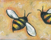 ACEO original mixed media colored pencil of buzzing bees