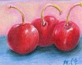 ACEO original colored pencil  of a cherry trio