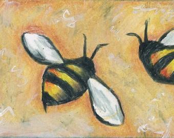 ACEO original mixed media colored pencil of buzzing bees