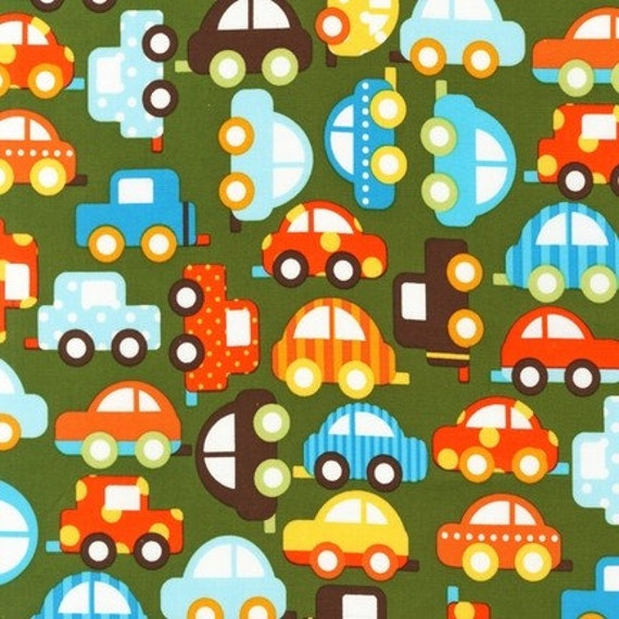 ORGANIC Ready Set Go, Green Cars fabric, 1 yard