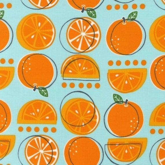 Robert Kaufman Metro Market Oranges on Blue, 1 yard &