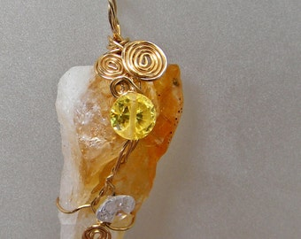 Long Citrine Crystal Point And CZ Pendant, Wrapped in Gold Filled Wire; Ooak Workplace Jewelry; Birthday and Anniversary Gift